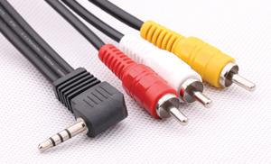 90掳 3.5mm to 3RCA AV/RCA Cable EP-R308